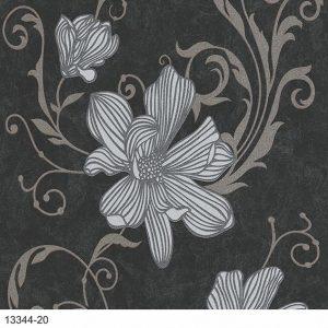 Papel de Parede Floral Preto