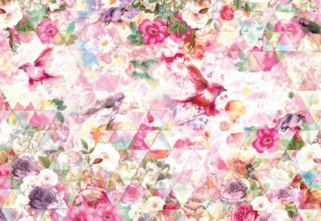 Painel Fotográfico com imagem geométrica Rosa com Flores e Pássaros | Ref: XXL4-019