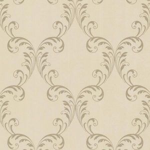 Papel de parede bege com motivo ornamental dourado,