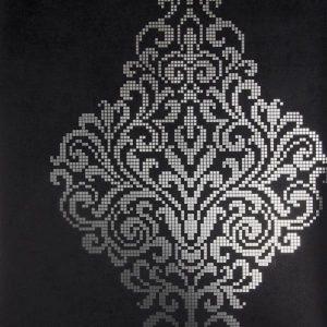 papel de parede com fundo preto, papel de parede com detalhes em prateado