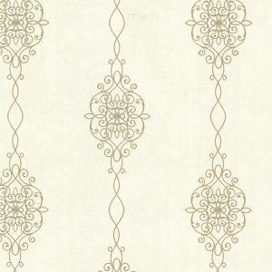 papel de parede para quarto de casal, quarto de adoolescente, arabescos em dourado, papel bege e marrom