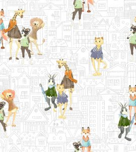 Papel de Parede Infantil bichos urbanos - Ref: 6201
