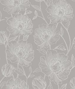 Papel de Parede Floral Cinza