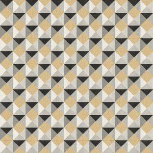 Papel de Parede Geométrico Preto e Amarelo