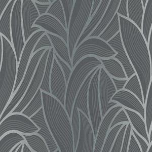Papel de Parede Floral fundo marrom escuro 10023-15