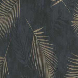 Papel de parede folhas palmeira preto com dourado 02579-40Papel de parede folhas palmeira preto com dourado 02579-40