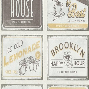 Papel de parede vintage quadros coffe 6365-15