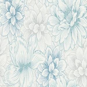 Papel de parede floral azul 5425-08