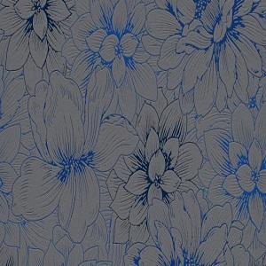Papel de parede florido cinza com azul 5425-15