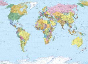 Painel Fotográfico Mapa Mundi | Ref: 4-050 2.54m Largura x 1.84m Altura