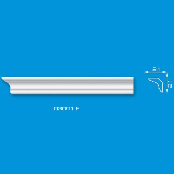 Moldura de Isopor para Roda Teto | Ref: 03001E - Medidas: Barra com 2.00 metros e comprimento - 0,21 mm de Largura x 0,21 mm de Altura
