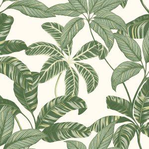 Papel de Parede com com folhagem verde
