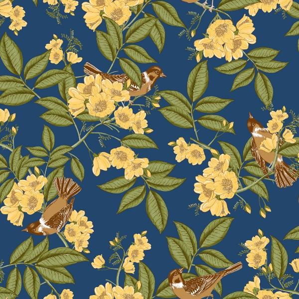 Papel de Parede Floral com fundo Azul - Ref: 4110