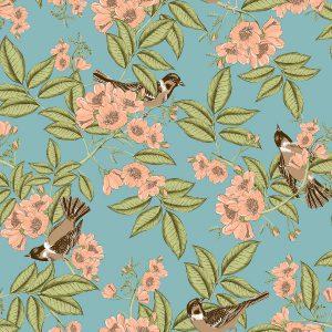 Papel de Parede Floral com passáros -Ref: 4111