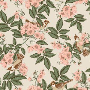 Papel de Parede Floral bege - Ref: 4112