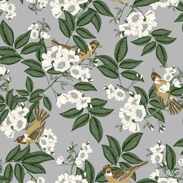 Papel de Parede Flores e Passarinho - Ref: 4113