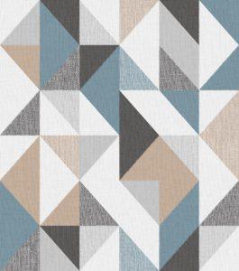 Papel de Parede Geométrico Azul e Bege - Ref: 4118