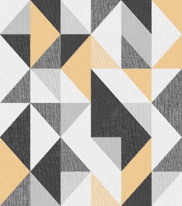 Papel de Parede Geométrico Amarelo e Preto - Ref: 4119